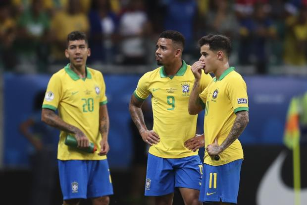 Roberto Firmino, Gabriel Jesus and Philippe Coutinho, left to right, all had goals disallowed for Brazil