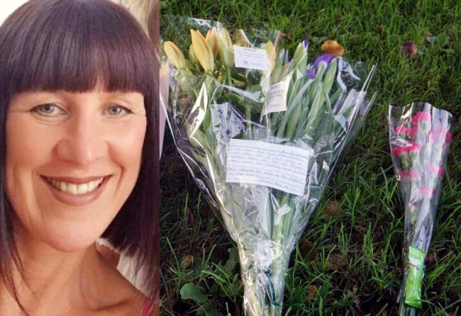 Lindsay Birbeck and the flowers left in Accrington Cemetery