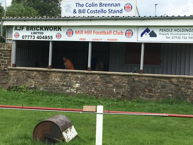 The Colin Brennan and Bill Costello Stand at Mill Hill FC's Griffin Ground