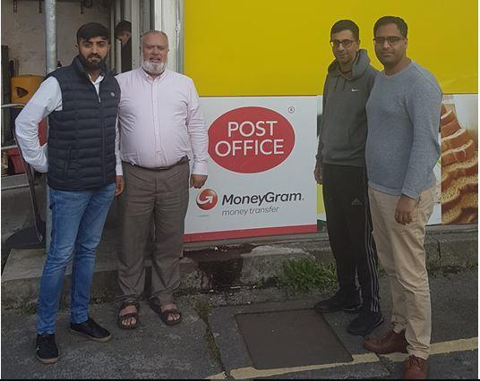 Local coucnillors outside the Post Office: L- R: Cllr Qamar Shazad, Cllr Mohammed Hanif, Cllr Naeem Ashraf, and Cllr Yasser Iqbal