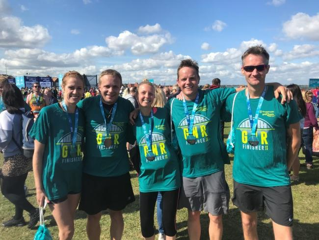 Family members raising money for the Epilepsy Society at the Great North Run 2019