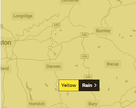 Weather warning for rain in East Lancashire