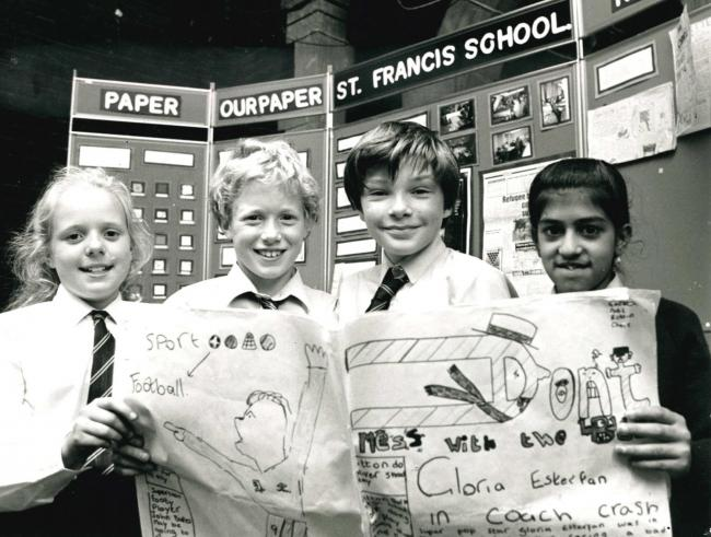Pupils from St Francis Primary School, Cherry Tree with the newspaper they produced for a Telegraph project back in 1990