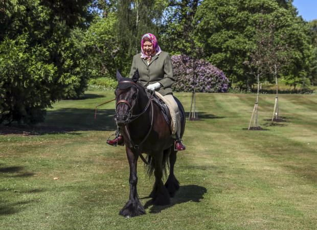 Lancaster And Morecambe Citizen: Queen Elizabeth II was photographed riding Balmoral Fern, a 14-year-old Fell Pony, in Windsor Home Park over the weekend. Picture: PA Wire