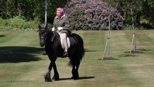 Queen Elizabeth II was photographed riding Balmoral Fern, a 14-year-old Fell Pony, in Windsor Home Park over the weekend. Picture: PA Wire