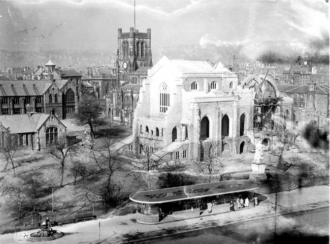 Work underway on remodelling Blackburn Cathedral around 1961