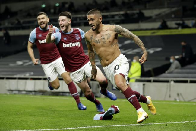West Ham's Manuel Lanzini celebrates scoring a dramatic equaliser