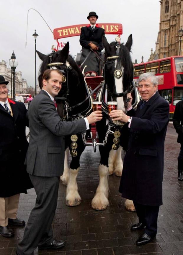 LANCASHIRE MPs Jake Berry and Jack Straw with the Shire horses from Blackburn