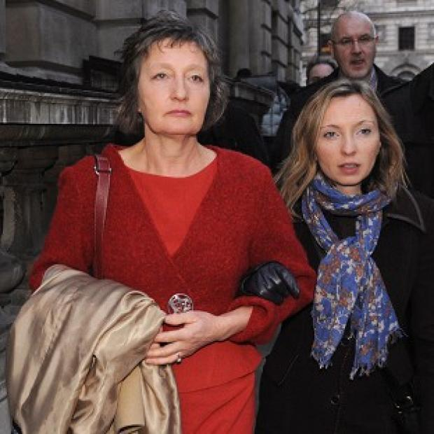 Lancaster And Morecambe Citizen: Pat Finucane's widow Geraldine arrives with her daughter Katherine to read the review of the report into the murder of the Belfast solicitor