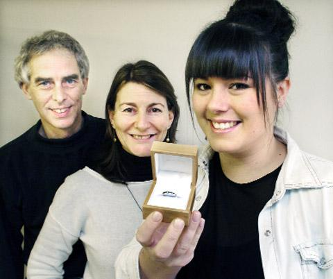 Lancaster And Morecambe Citizen: Tony Clare and Fenella Macmillan with Kylie Holywell and the prize ring