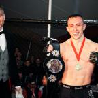 Lancaster And Morecambe Citizen: Richard Buskin after winning the lightweight UFW champion belt