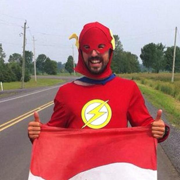 Lancaster And Morecambe Citizen: Jamie McDonald, 27, has completed a 12 month gruelling charity run across Canada dressed as a superhero.