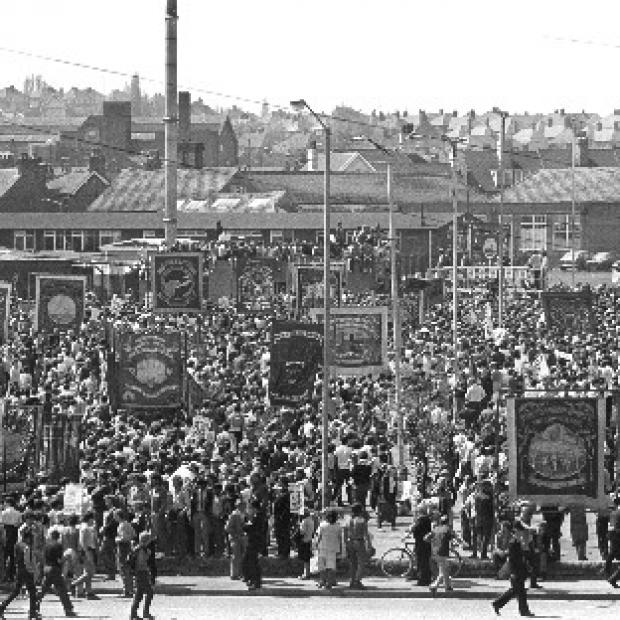 Lancaster And Morecambe Citizen: A mass rally of striking miners in Mansfield, Nottinghamshire, in May 1984