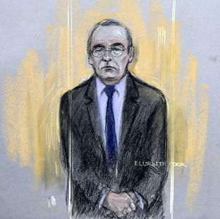 Lancaster And Morecambe Citizen: Court artist sketch by Elizabeth Cook of Fred Talbot in the dock at Manchester Magistrates' Court.
