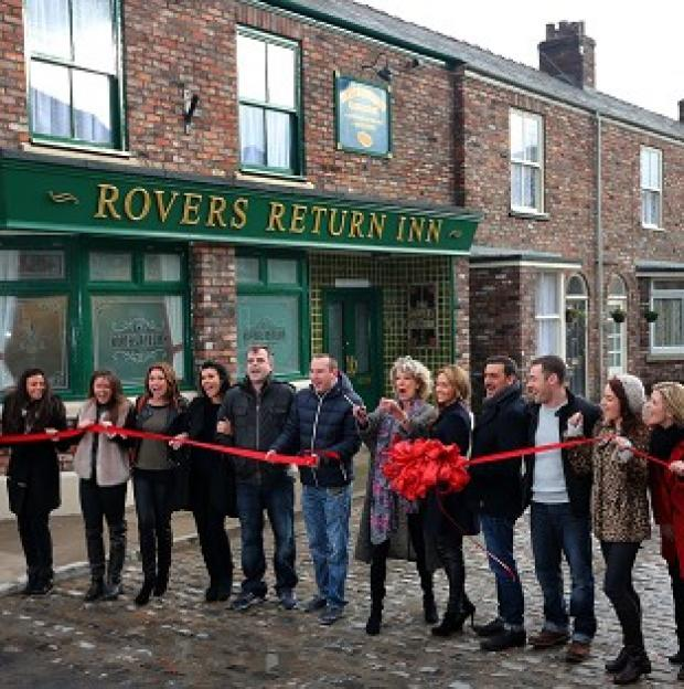 Lancaster And Morecambe Citizen: Coronation Street cast members on the new set, including the famous cobbles