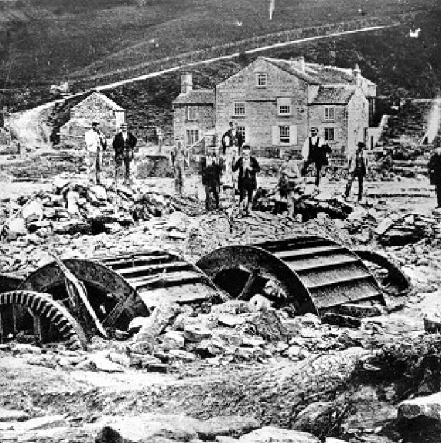 Lancaster And Morecambe Citizen: Damage at Rowell Bridge Wheel in Loxley following the Great Sheffield Flood in 1884 (Sheffield City Council/PA Wire)