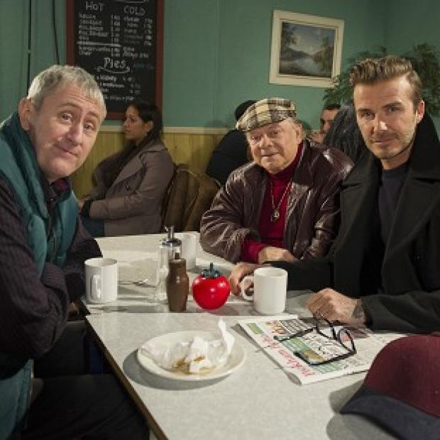 Lancaster And Morecambe Citizen: David Beckham joins Sir David Jason and Nicholas Lyndhurst as a guest in a special Only Fools And Horses sketch for Sport Relief
