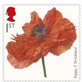Lancaster And Morecambe Citizen: The new first class stamp to commemorate the First World War, showing a painting of a Poppy by Fiona Strickland. (Royal Mail/PA)
