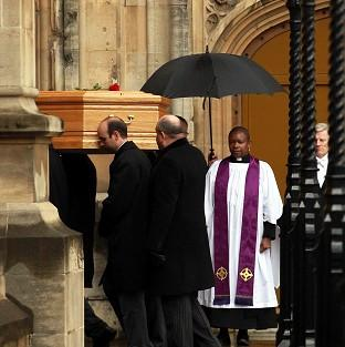 Lancaster And Morecambe Citizen: Tony Benn's coffin arrives at the Palace of Westminster to be placed in the Chapel of St Mary Undercroft.