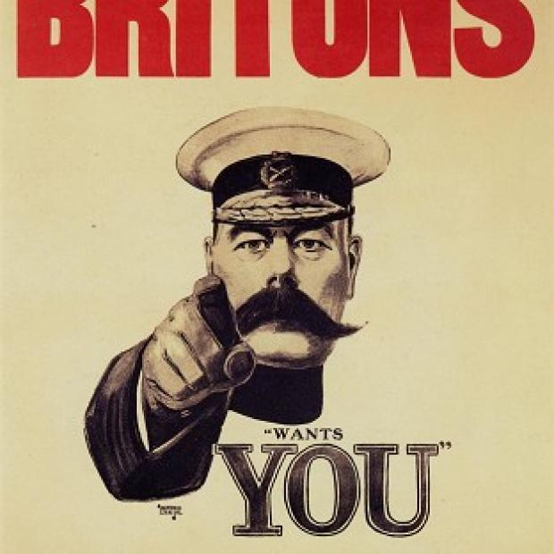 "Lancaster And Morecambe Citizen: Pals Battalions were inspired by the famously moustachioed Lord Kitchener's ""Your Country Needs You"" campaign"