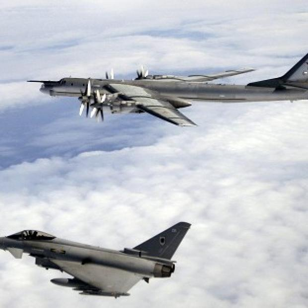 Lancaster And Morecambe Citizen: RAF Typhoons (below) were sent to monitor Russian aircraft.