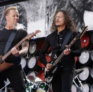 Lancaster And Morecambe Citizen: Metallica stars James Hetfield, left, and Kirk Hammett will be on stage for a Saturday headline set at Galstonbury