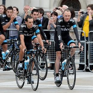 Lancaster And Morecambe Citizen: Team Sky's Richie Porte and Chris Froome during the team presentation at the Leeds Arena