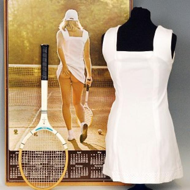 Lancaster And Morecambe Citizen: The famous Tennis Girl poster dress from the 1970s has been sold for £15,500 at auction (Fieldings Auctioneers Ltd/PA)