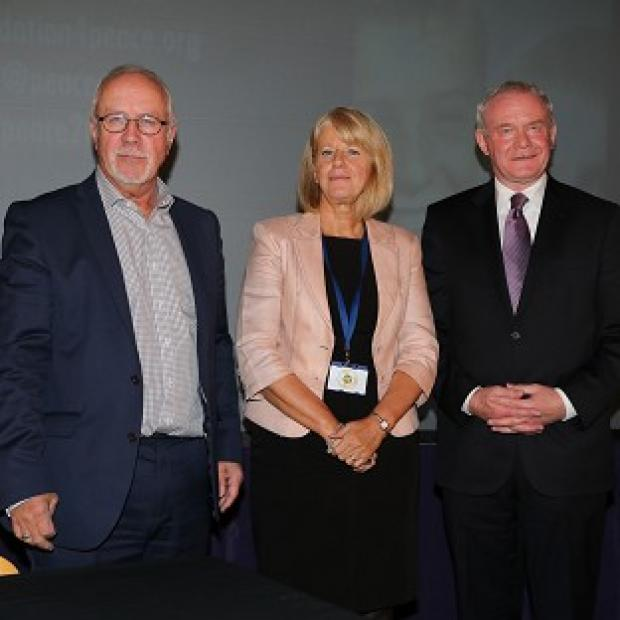 Lancaster And Morecambe Citizen: Colin Parry, left, with his wife Wendy and Northern Ireland Deputy First Minister Martin McGuinness  during the Tim Parry Johnathan Ball Foundation for Peace event in Warrington