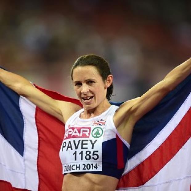 Lancaster And Morecambe Citizen: Great Britain's Jo Pavey celebrates winning the Women's 10,000m final at the Letzigrund Stadium, Zurich