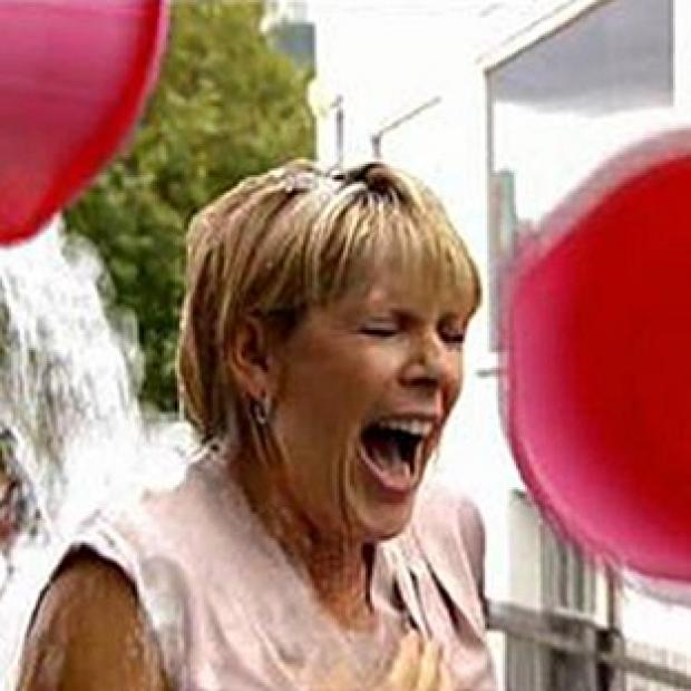 Lancaster And Morecambe Citizen: This Morning presenter Ruth Langsford is doused with ice and water