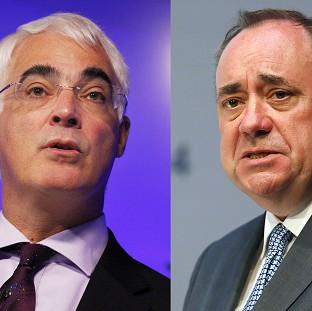 Lancaster And Morecambe Citizen: Alistair Darling, left, Alex Salmond will take part in a 90-minute televised debate