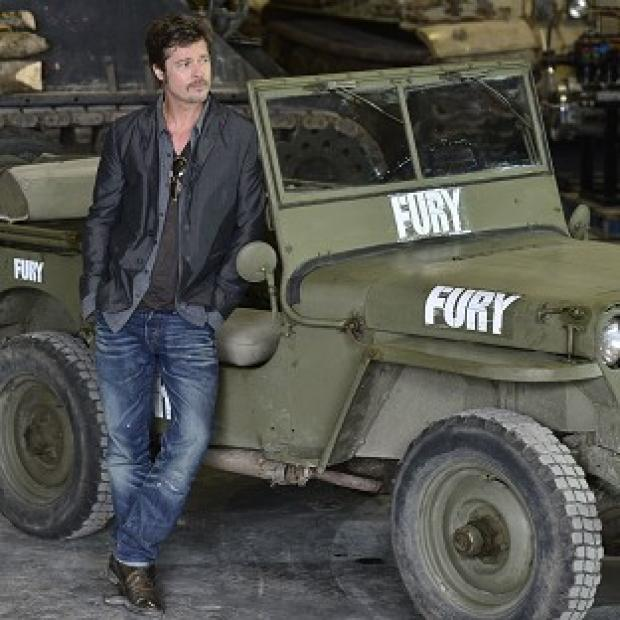 Lancaster And Morecambe Citizen: Brad Pitt during a photocall at the Tank Museum in Bovington, Dorset