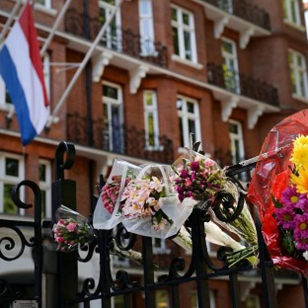 Lancaster And Morecambe Citizen: Flowers outside the Dutch Embassy in London to remember the passengers who were killed on Malaysian Flight MH17