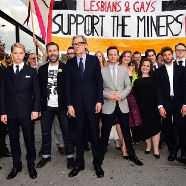 Lancaster And Morecambe Citizen: (from left) Freddie Fox, Paddy Considine, Bill Nighy and Andrew Scott walk the streets of Camden to promote the new film Pride in London