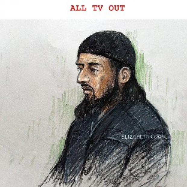 Lancaster And Morecambe Citizen: Court sketch of terror suspect Haroon Rashid Aswat , 31, during his extradition hearing in January 2006. Judges have now said he can be extradited to the US (Elizabeth Cook/PA)