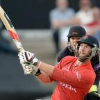 Lancaster And Morecambe Citizen: RETURN: Tom Smith, hitting a six against Leicestershire Foxes in the 2014 T20 tournament, is back fit for Lancashire this season
