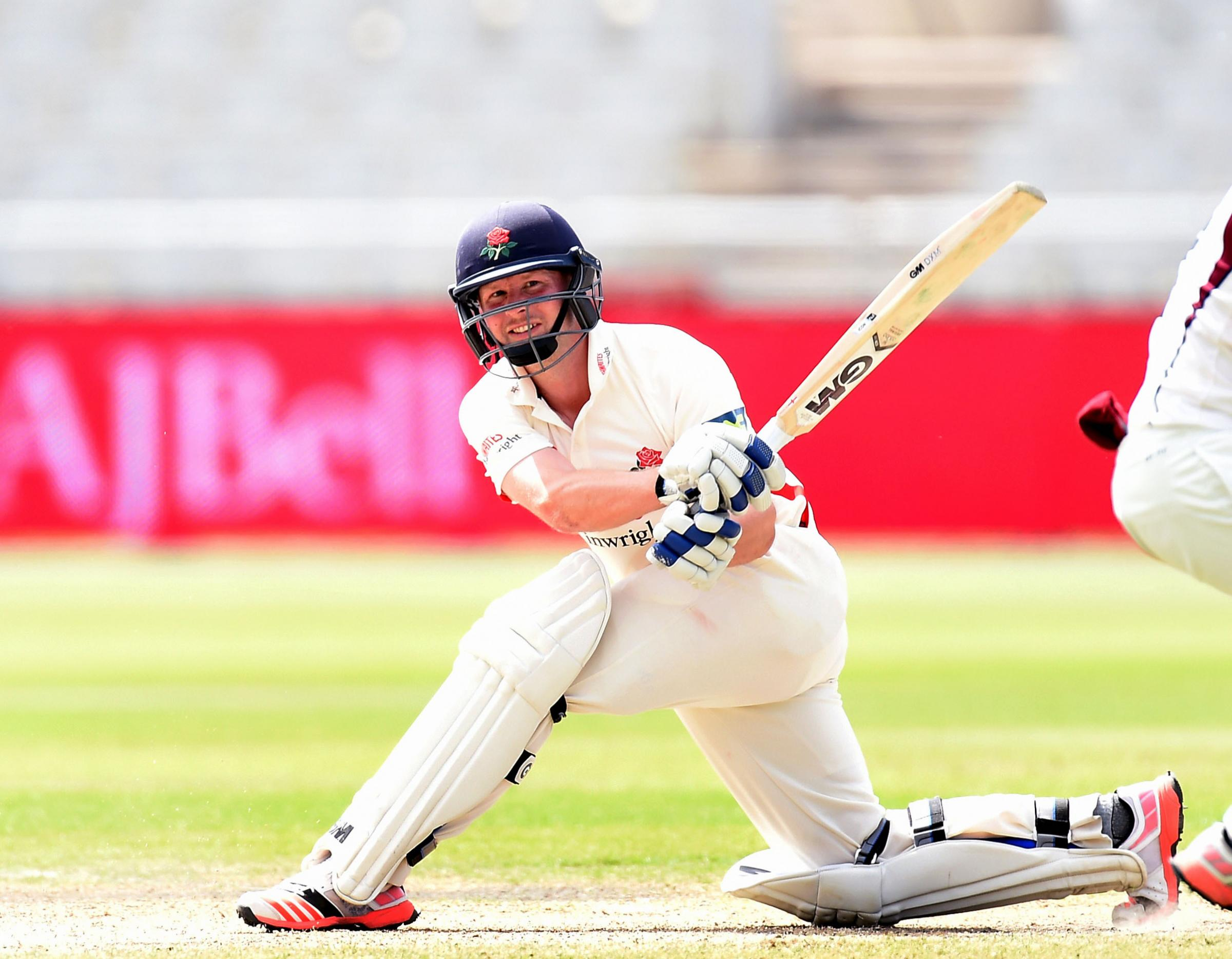 Lancashire's Karl Brown hits for 4 against Northamptonshire during the LVCC match at Old Trafford Cricket Ground, Manchester..