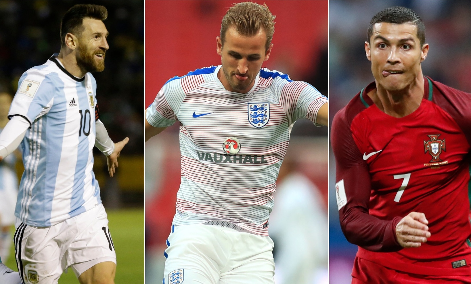 Argentina's Lionel Messi, England captain Harry Kane, and Portugal's Cristiano Ronaldo are all on show at World Cup 2018