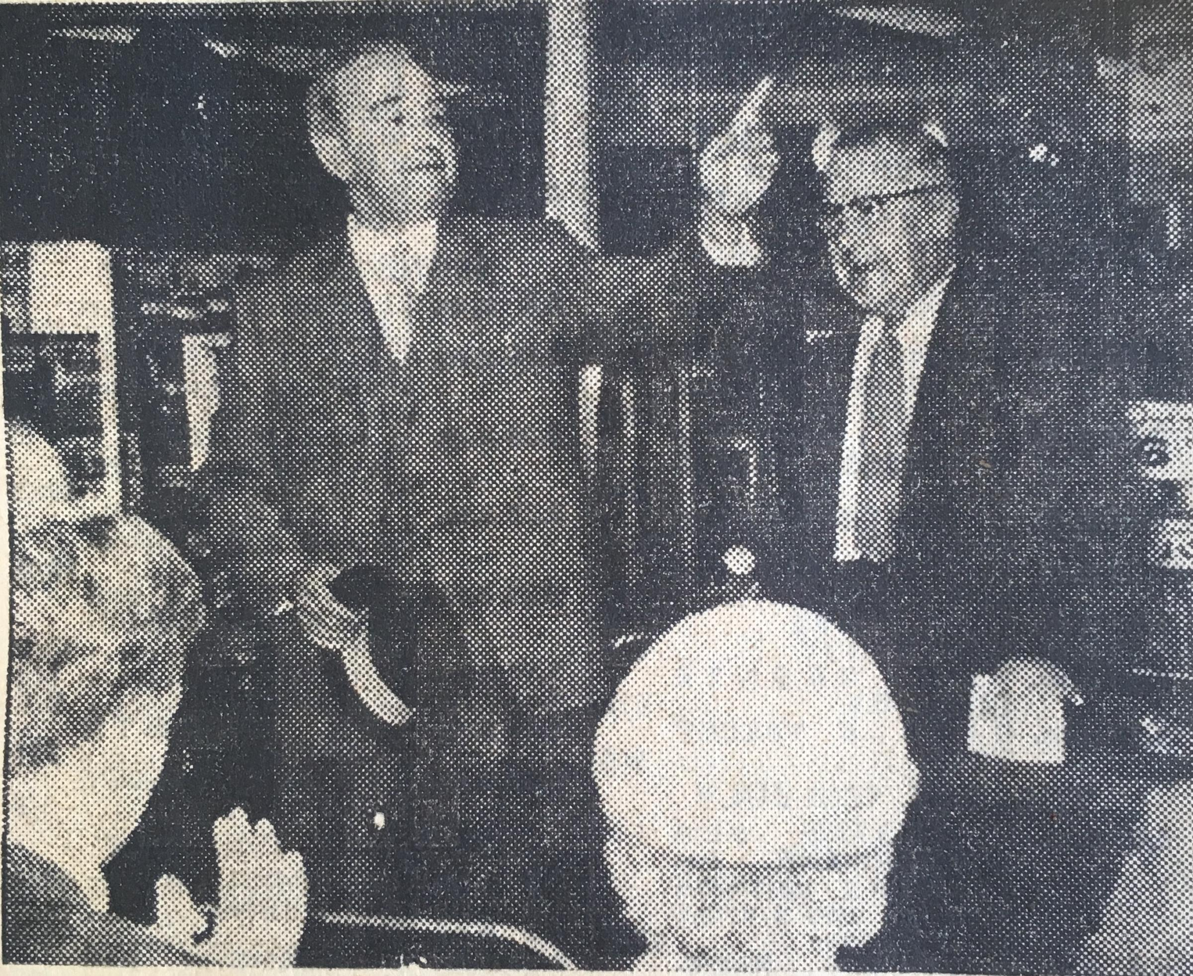 At the opening of Blackburn's new supermarket was Mr B.T. Parry, the general manager and Mr J. Farish, president, who officially opened the market.