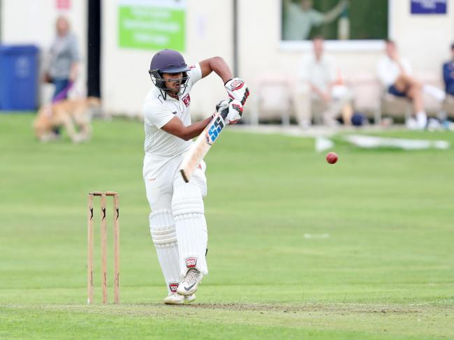 Oswaldtwistle Immanuel professional Shubham Khajuria on his way to a double century against Settle