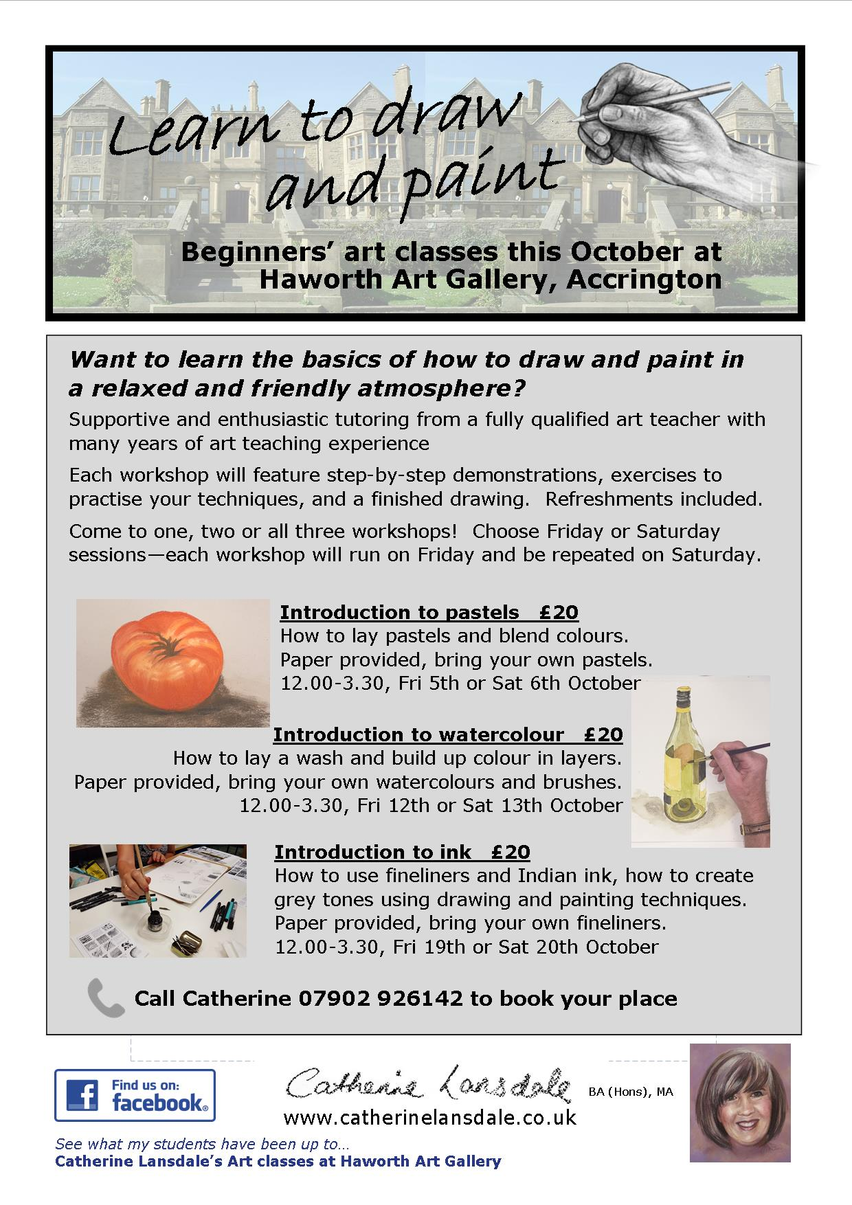 Beginners Art class - learn to use Pastel, watercolour and ink