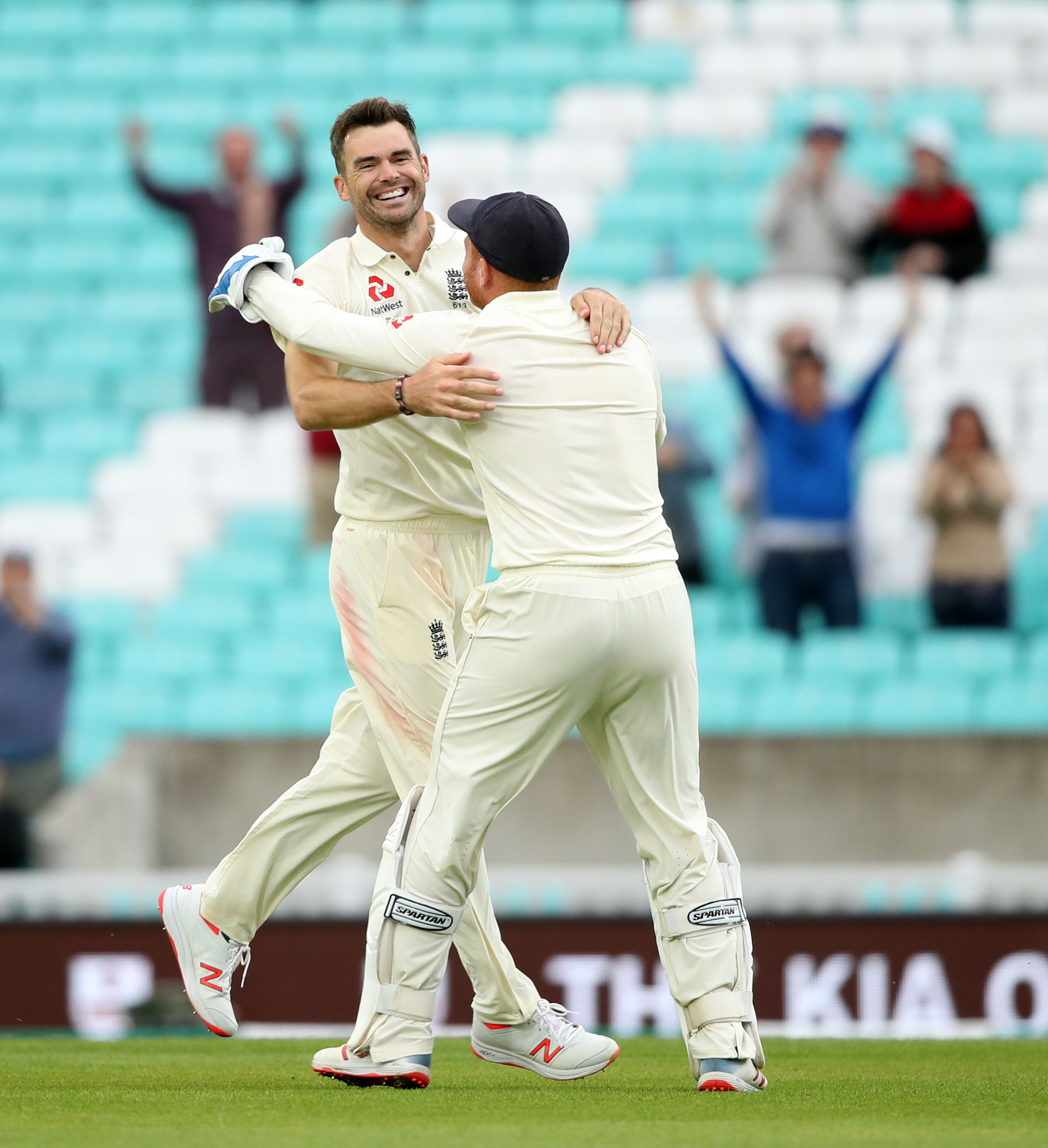 Jimmy Anderson celebrates taking the wicket that saw him go above Glenn McGrath in the all-time list