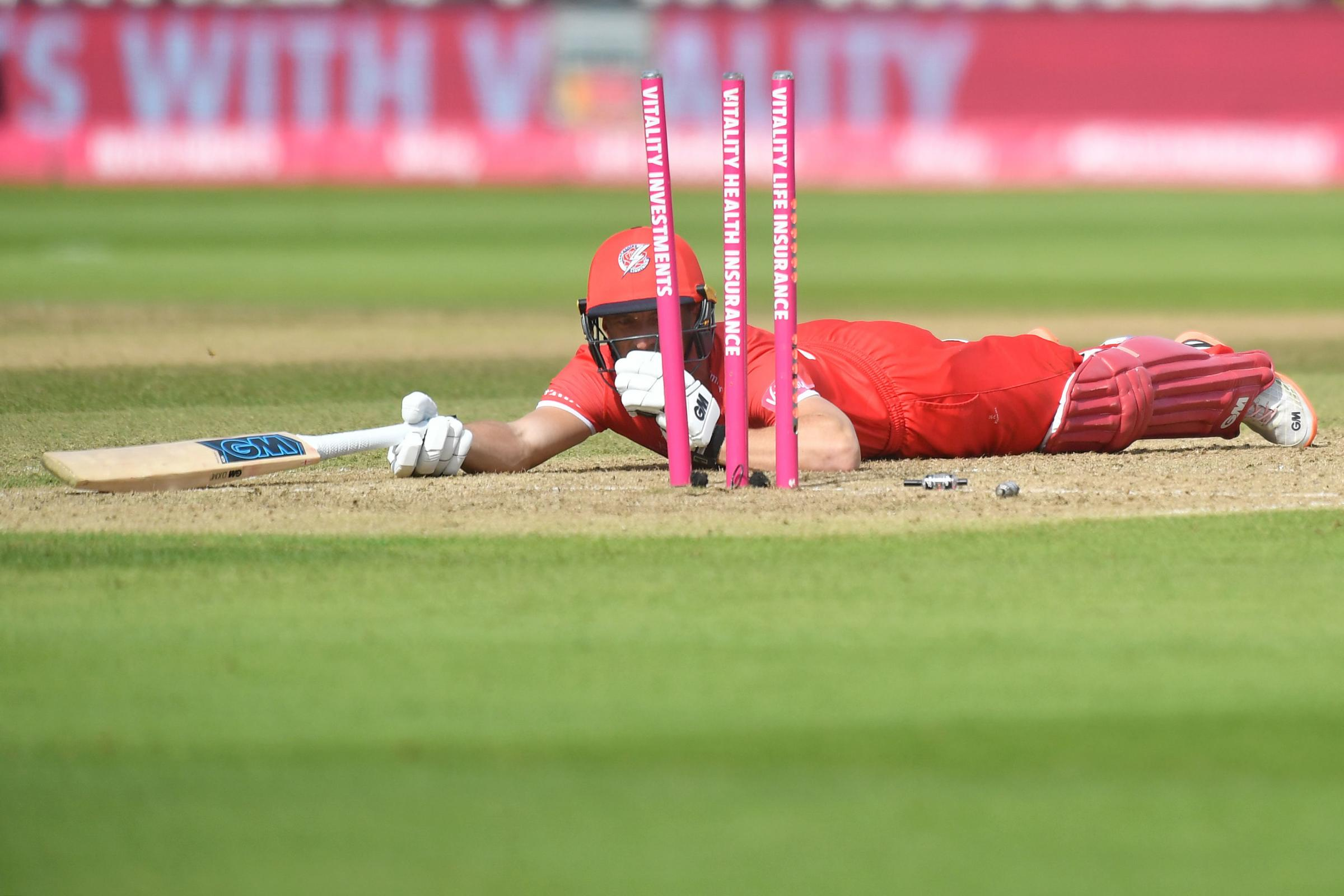 Lancashire Lightning's Dane Vilas is run out by Worcestershire Rapid's Ed Barnard (not pictured) during the Vitality T20 Blast Semi Final match on Finals Day at Edgbaston, Birmingham. PRESS ASSOCIATION Photo. Picture date: Saturday