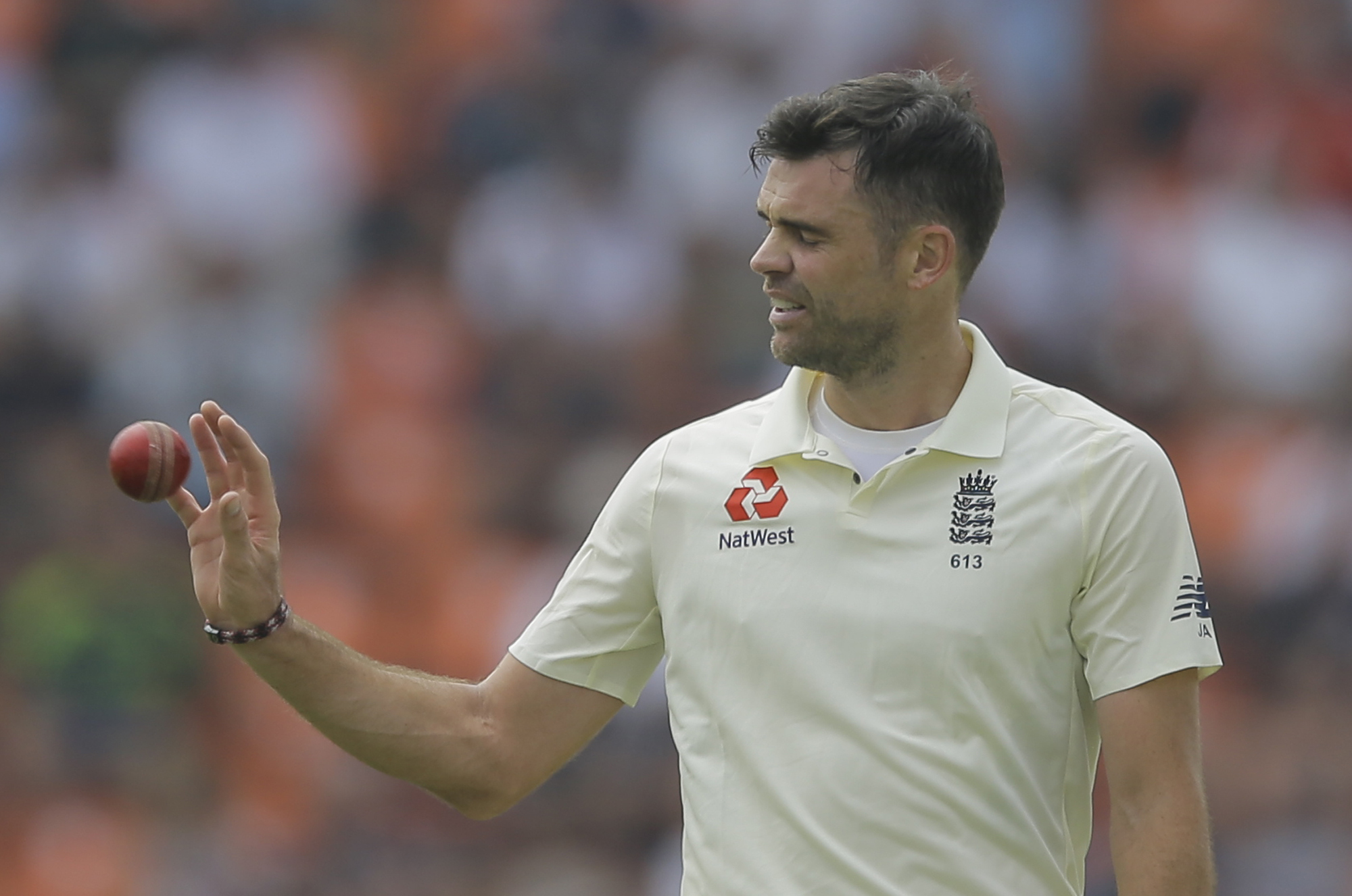 England's James Anderson prepares to bowl during the fourth day of the second test cricket match between Sri Lanka and England in Pallekele, Sri Lanka, Saturday, Nov. 17, 2018. (AP Photo/Eranga Jayawardena).