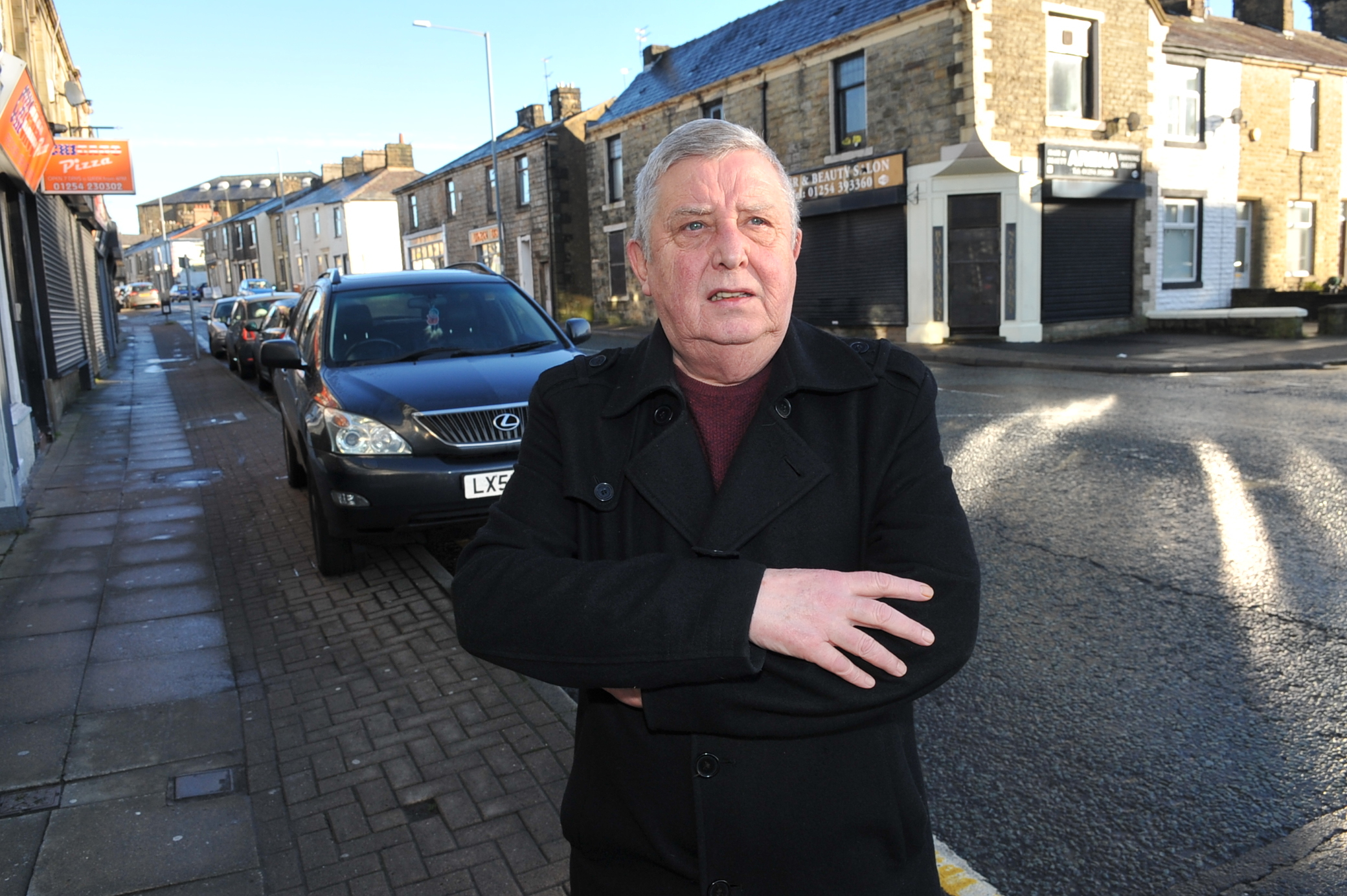 Peter Britcliffe pictured at junstion of Rhyddings Street and Union Road, Oswaldtwistle, complaining about parking/road issues...Images by Steve Holt, Sunday January 29 2017..