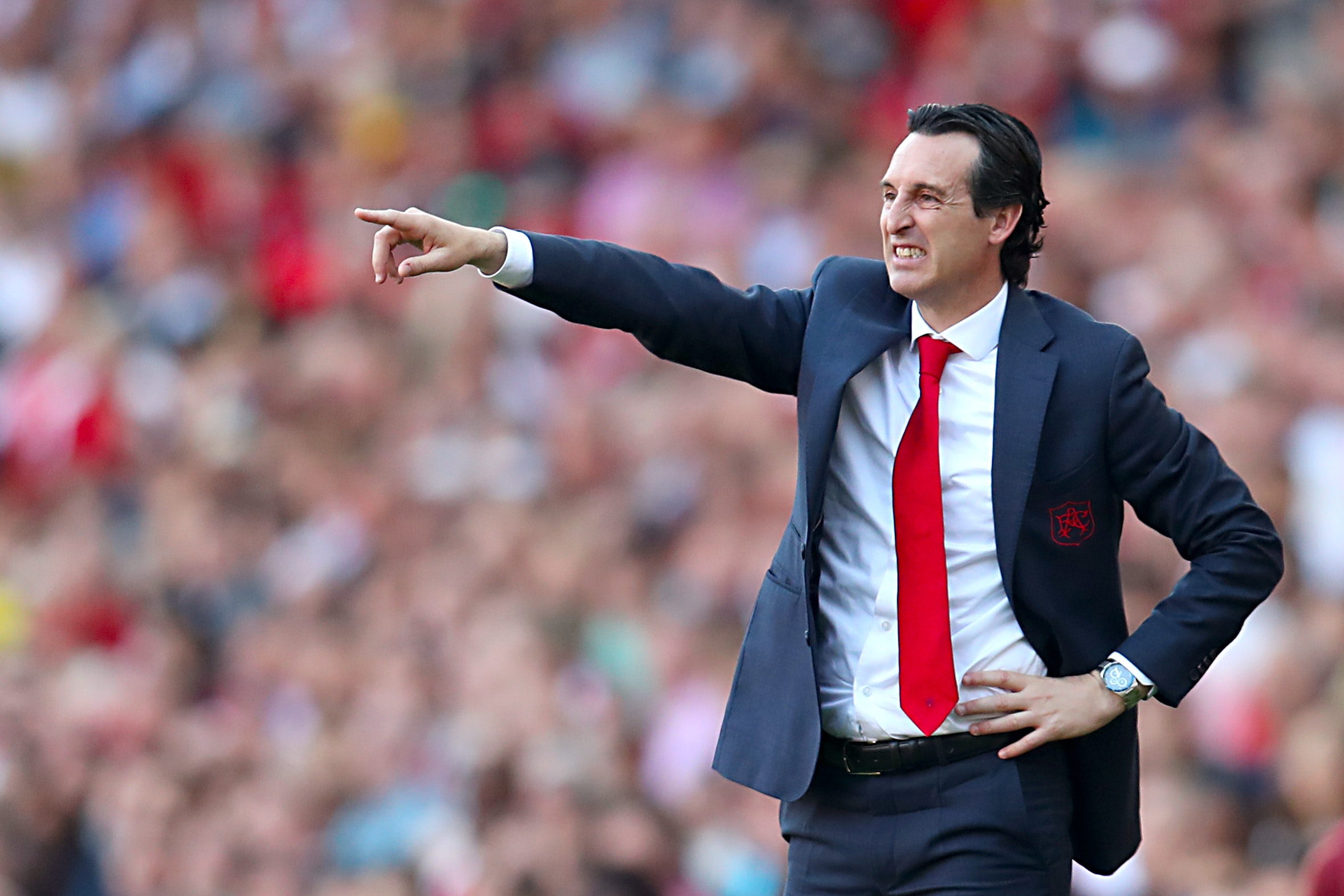 Unai Emery gestures on the touchline during today's game