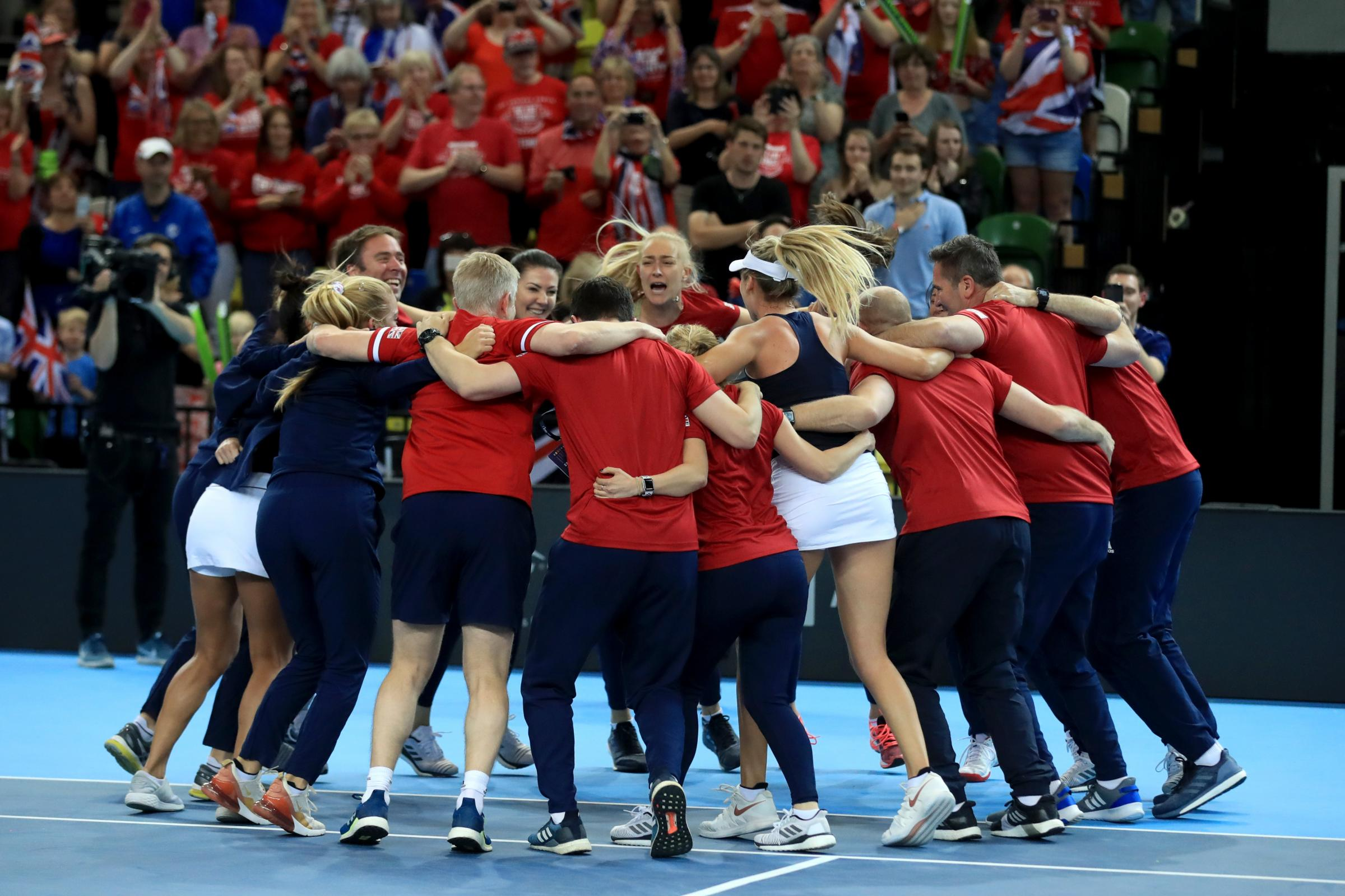 The Great Britain team celebrate their victory over Kazakhstan